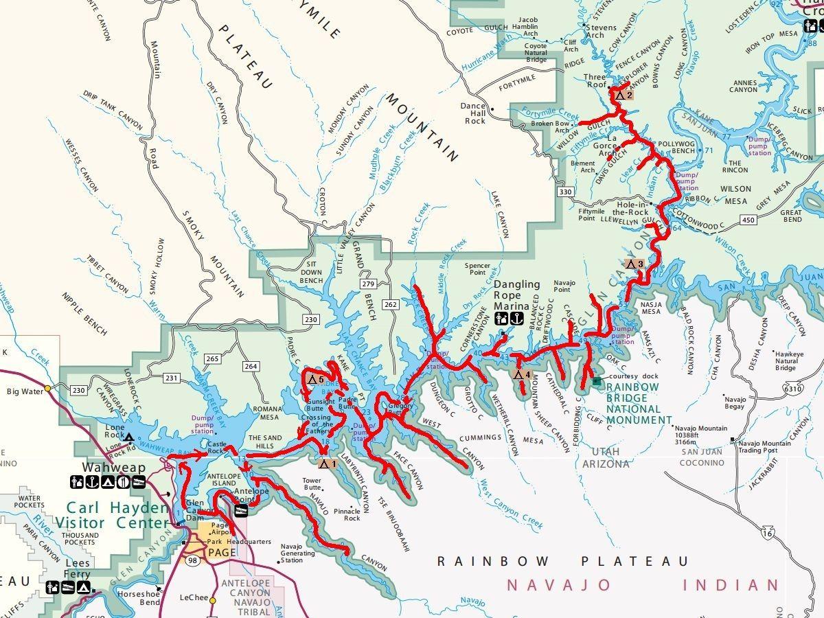 lake powell map. lake powell